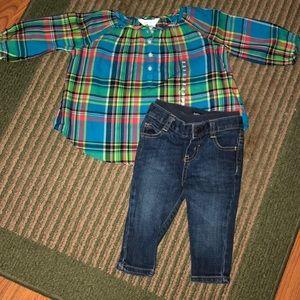Ralph Lauren plaid shirt with jeans ✨